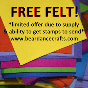 Free Felt! Get 12 Mini Felt Squares FREE! *while supplies & stamps last* ONLY in CANADA