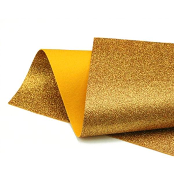 Orange Gold Glitter Felt