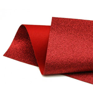 Red Glitter Wool Felt GWF017