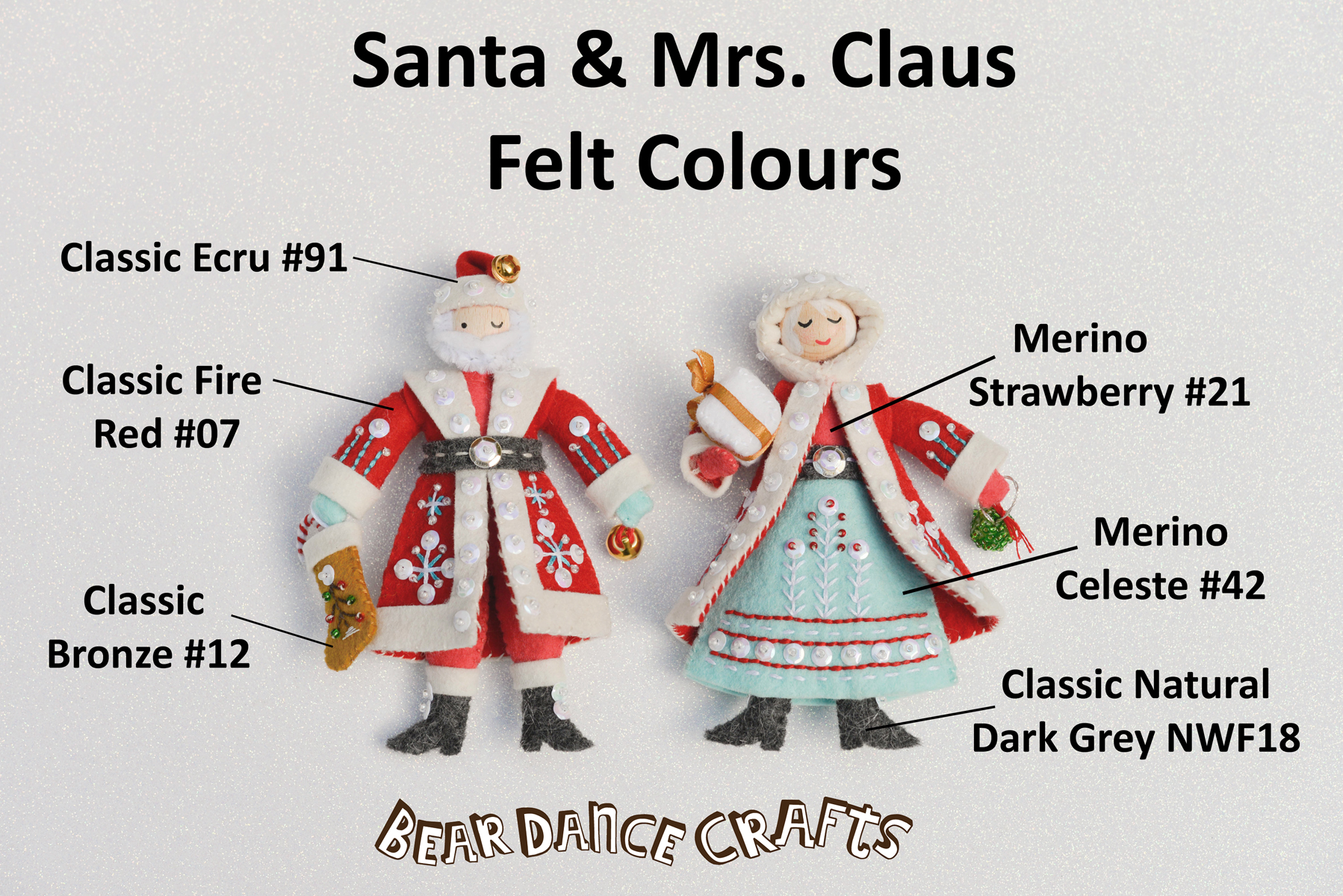 Santa and Mrs. Claus Ornament Felt Colours