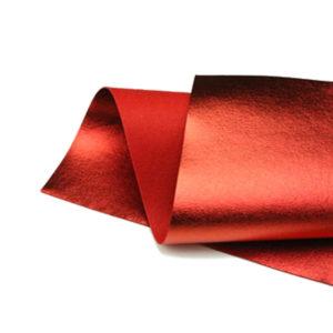 Brushed Red Metallic Wool Felt WFM003