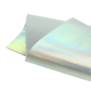 Brushed Holographic Silver Metallic Wool Felt WFM008