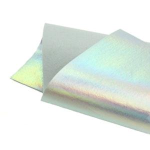 Brushed Holographic Silver Metallic Wool Felt WFM008